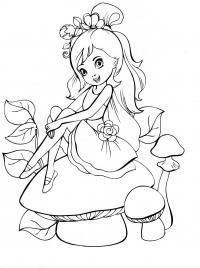 Маленькая девочка в платье на грибочке Раскраски цветы скачать