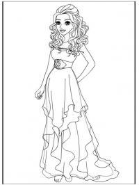 Девочка с большими глазами в модном платье Раскраски цветы скачать