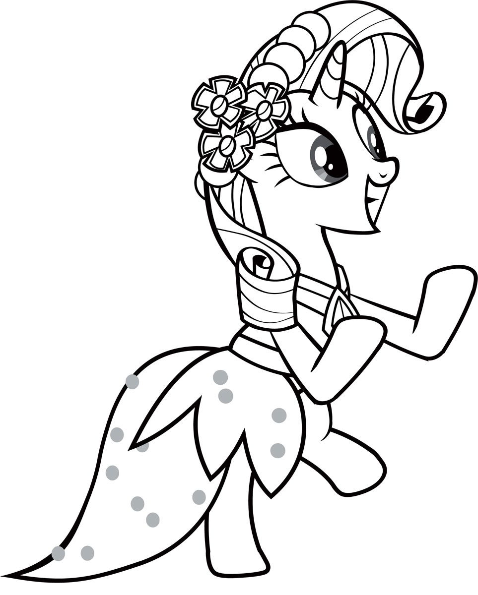 Пони в модном платье Скачать и распечатать раскраски цветов бесплатно