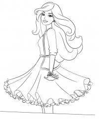 Девочка в модном пышном платье Раскраски цветы скачать