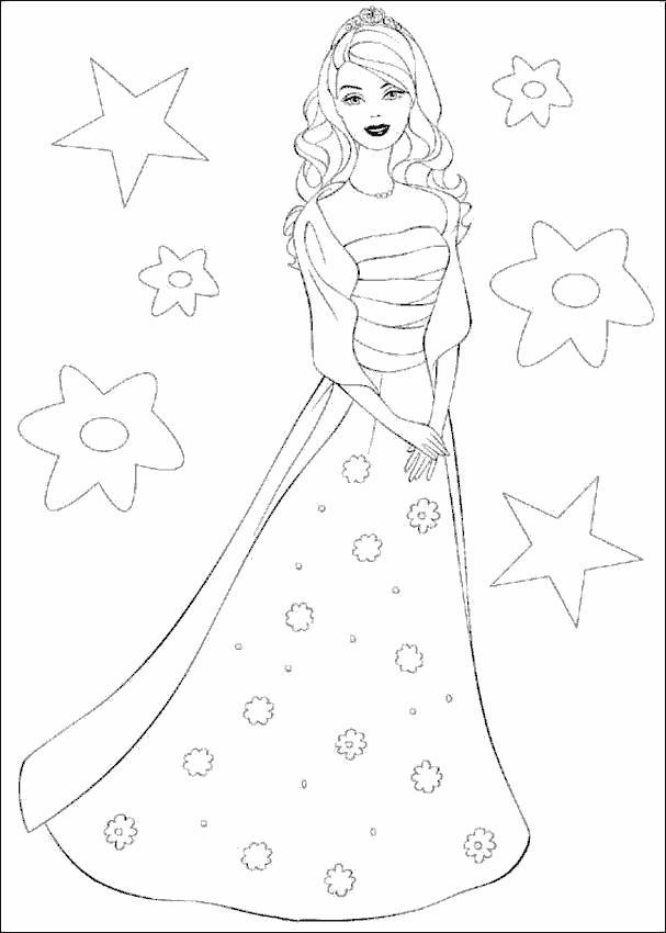 Барби в платье в цветок Раскраски с цветами распечатать бесплатно