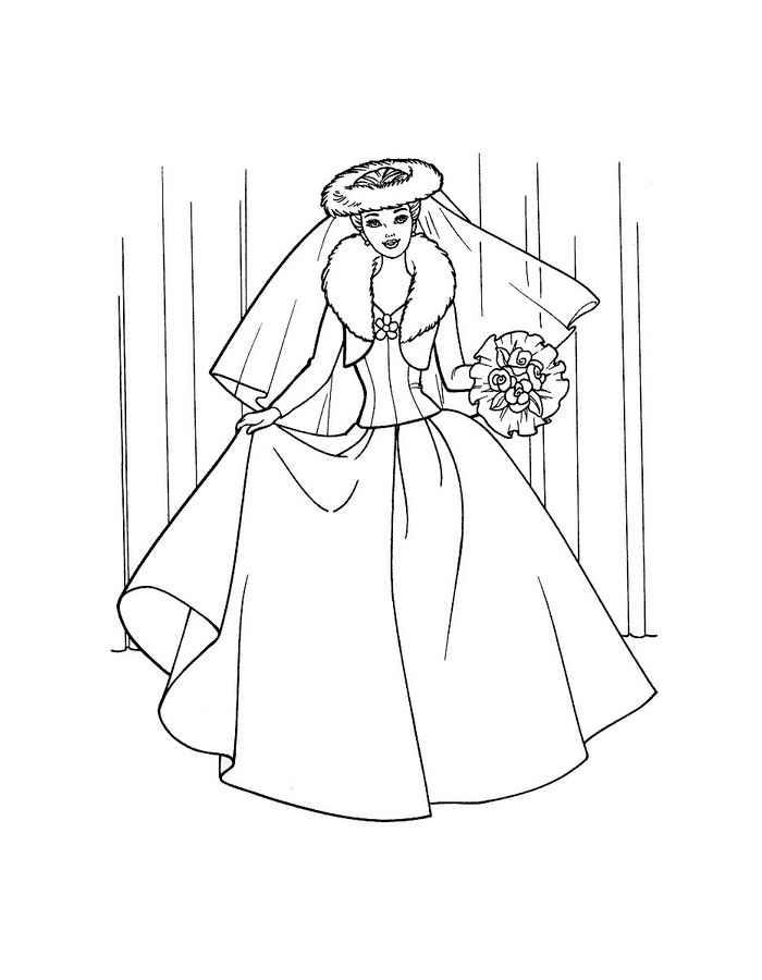 Девушка в модном свадебном платье Раскраски цветы скачать