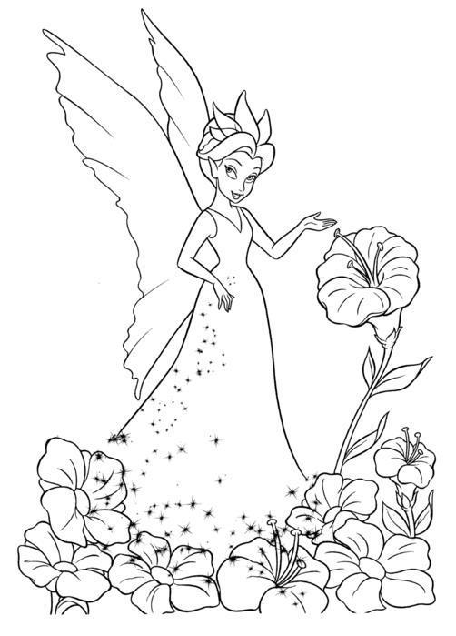 Фея в красивом платье среди цветов Скачать раскраски с цветами