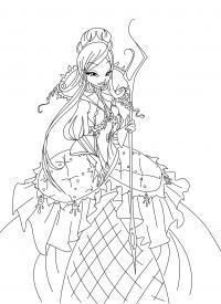 Винкс, в очень красивом платье Новые раскраски с цветами