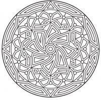 Узор в круге с цветком в центре Новые раскраски с цветами