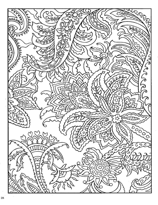Узор с тропическими цветами Новые раскраски с цветами