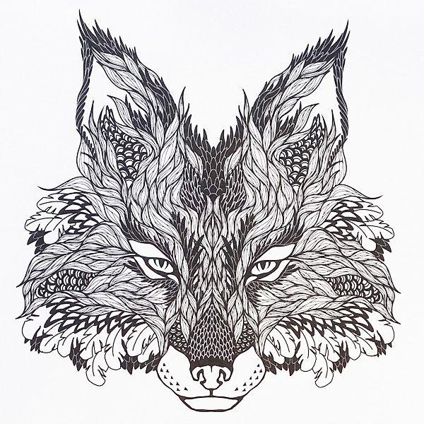 Волк из узоров Раскраски с чудесными цветами