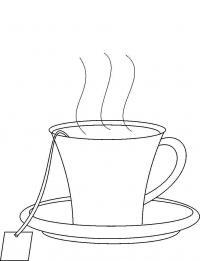 Чашка чая Раскраски цветы для детей