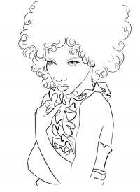 Девушка с пышной прической Раскраска цветок для скачивания
