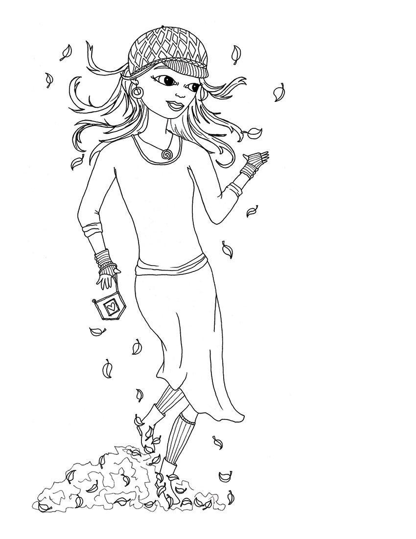 Девочка в кепке среди листьев Раскраски бесплатно онлайн с цветами