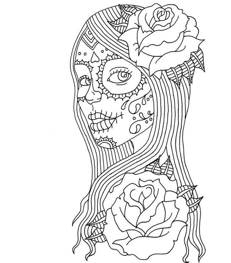 Девочка зомби с розами Раскраска цветок для скачивания