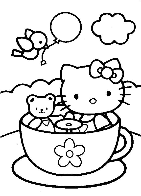 Китти в чашке Лучшие раскраски с цветами