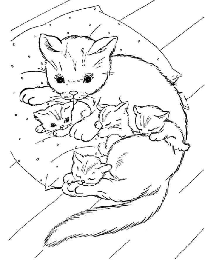 Кошка с котятами Для детей онлайн раскраски с цветами