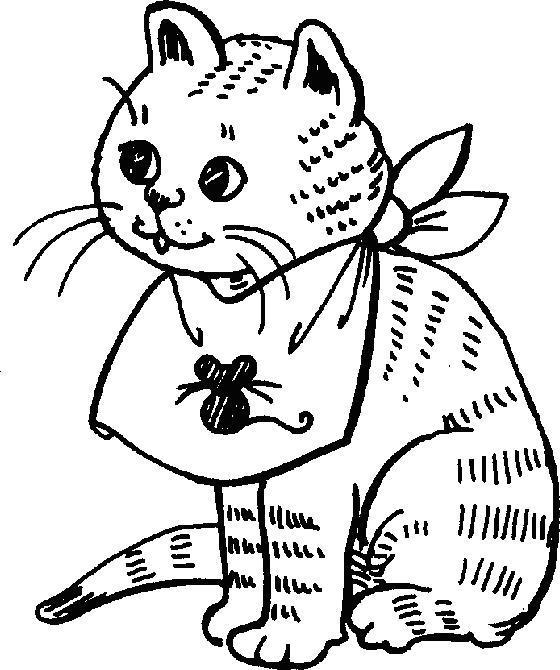 Котенок с повязкой Для детей онлайн раскраски с цветами