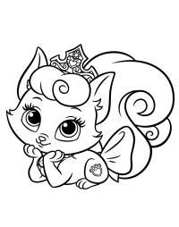 Пушистый котенок с короной Для детей онлайн раскраски с цветами