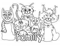 Семейка котов Для детей онлайн раскраски с цветами