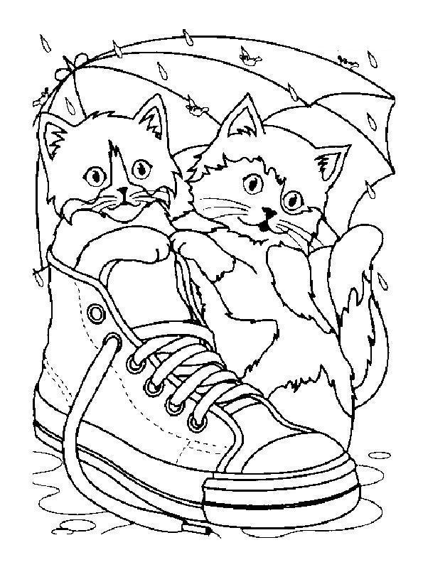 Котята в ботинке под зонтиком Для детей онлайн раскраски с цветами