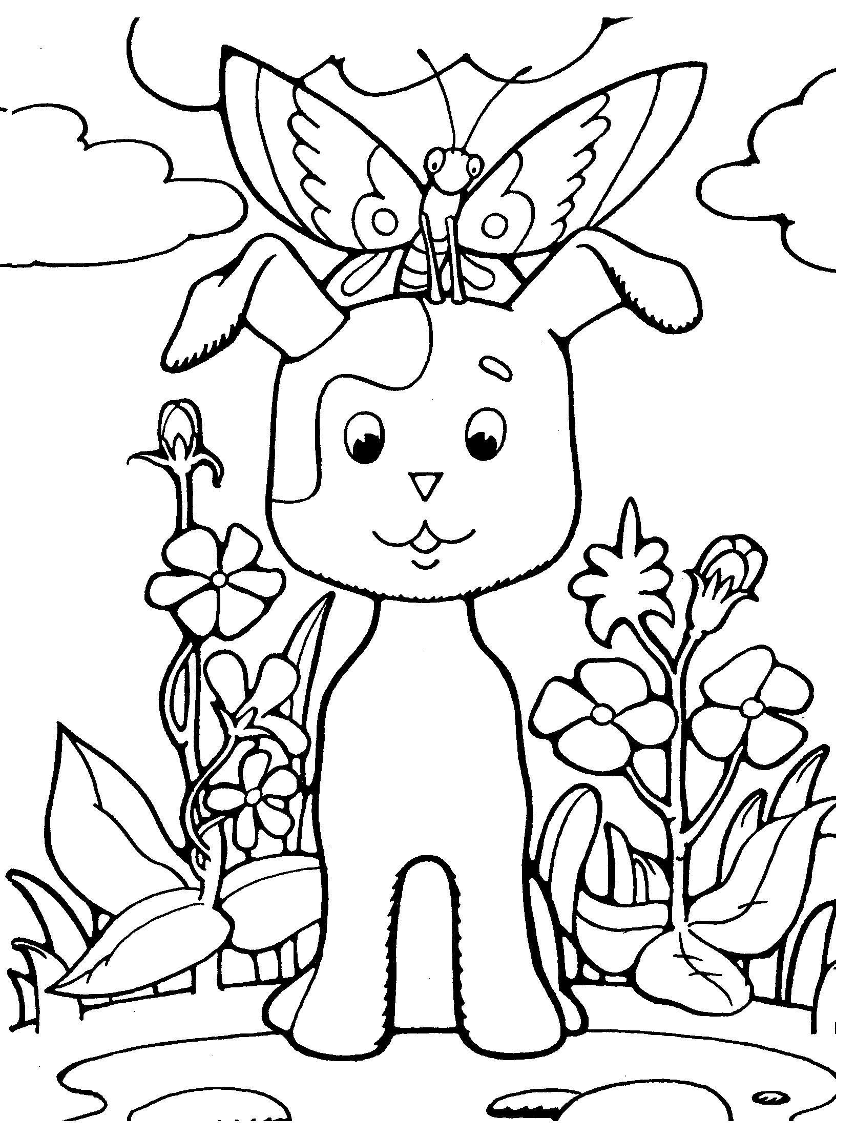Щенок из мультфильма котенок по имени гав Красивые раскраски цветов