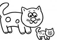 Кошка с котенком Для детей онлайн раскраски с цветами