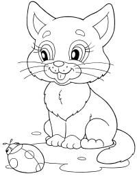 Котенок с божьей коровкой Для детей онлайн раскраски с цветами