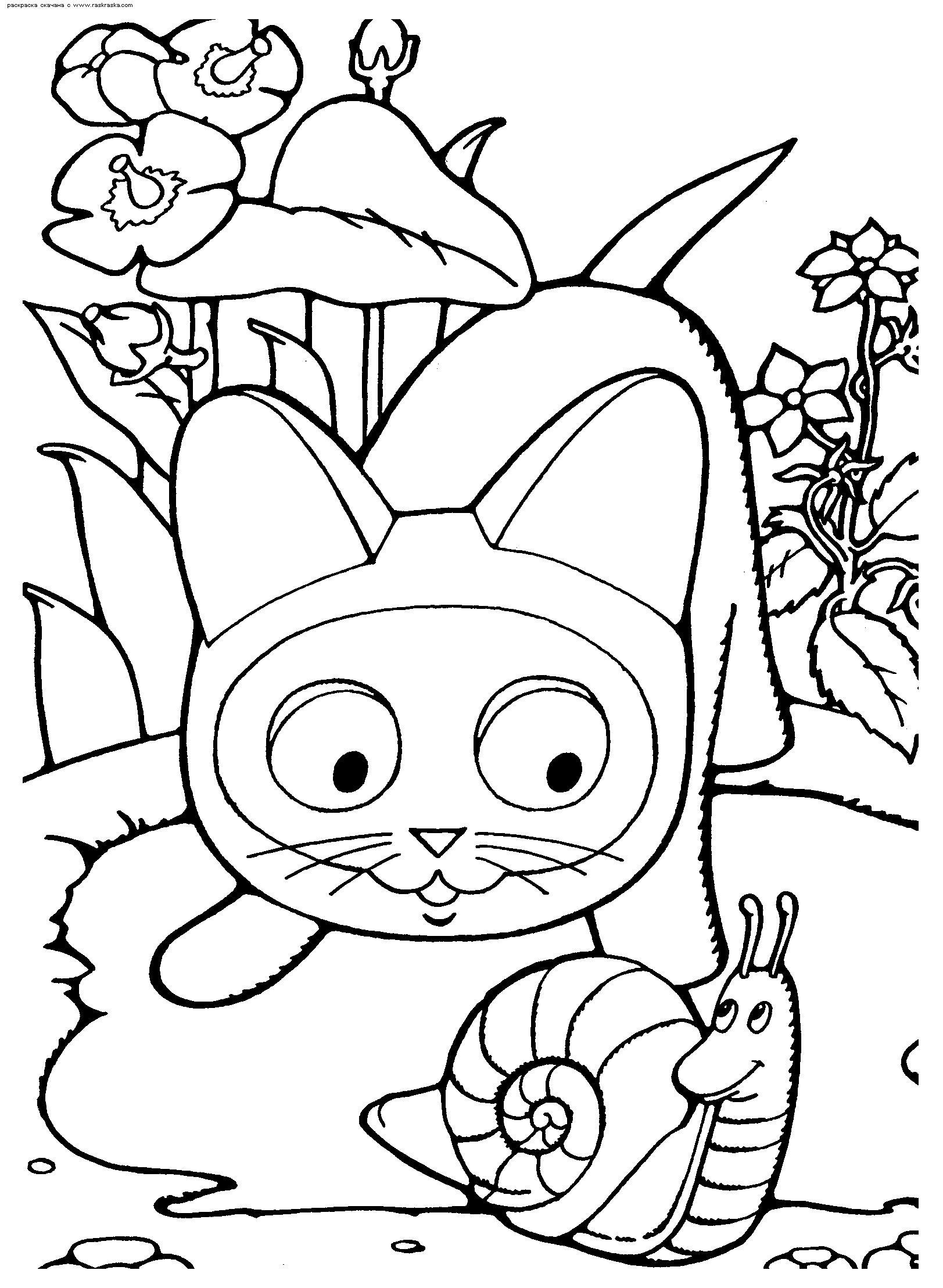 Котенок гав и улитка Красивые раскраски цветов