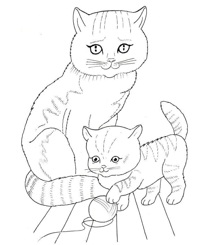 Котенок играет с клубком и кошка Для детей онлайн раскраски с цветами