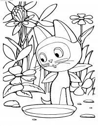 Котенок гав возле миски Для детей онлайн раскраски с цветами