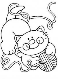 Котенок играет с клубком Для детей онлайн раскраски с цветами