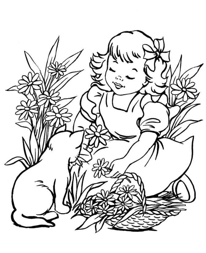 Девочка с котенком в цветах Раскраски бесплатно онлайн с цветами