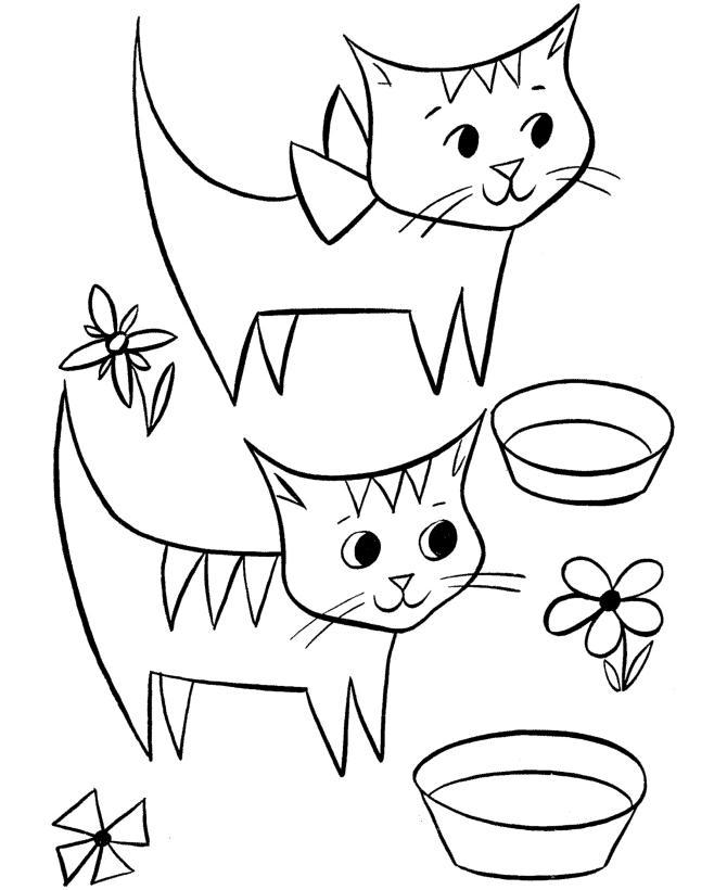 Котята и миски Раскраски цветочки онлайн