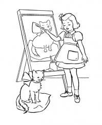 Девочка рисует котенка Раскраски бесплатно онлайн с цветами