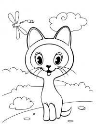 Котенок гав и стрекоза Для детей онлайн раскраски с цветами