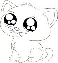 Котенок с милыми глазами Для детей онлайн раскраски с цветами
