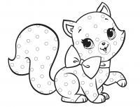 Котенок в пятнышку Для детей онлайн раскраски с цветами