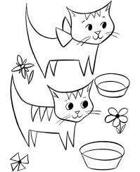 Котята и миски Для детей онлайн раскраски с цветами