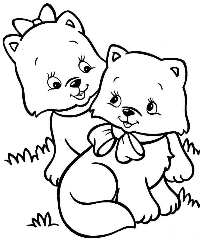 Котята с бантиками Для детей онлайн раскраски с цветами