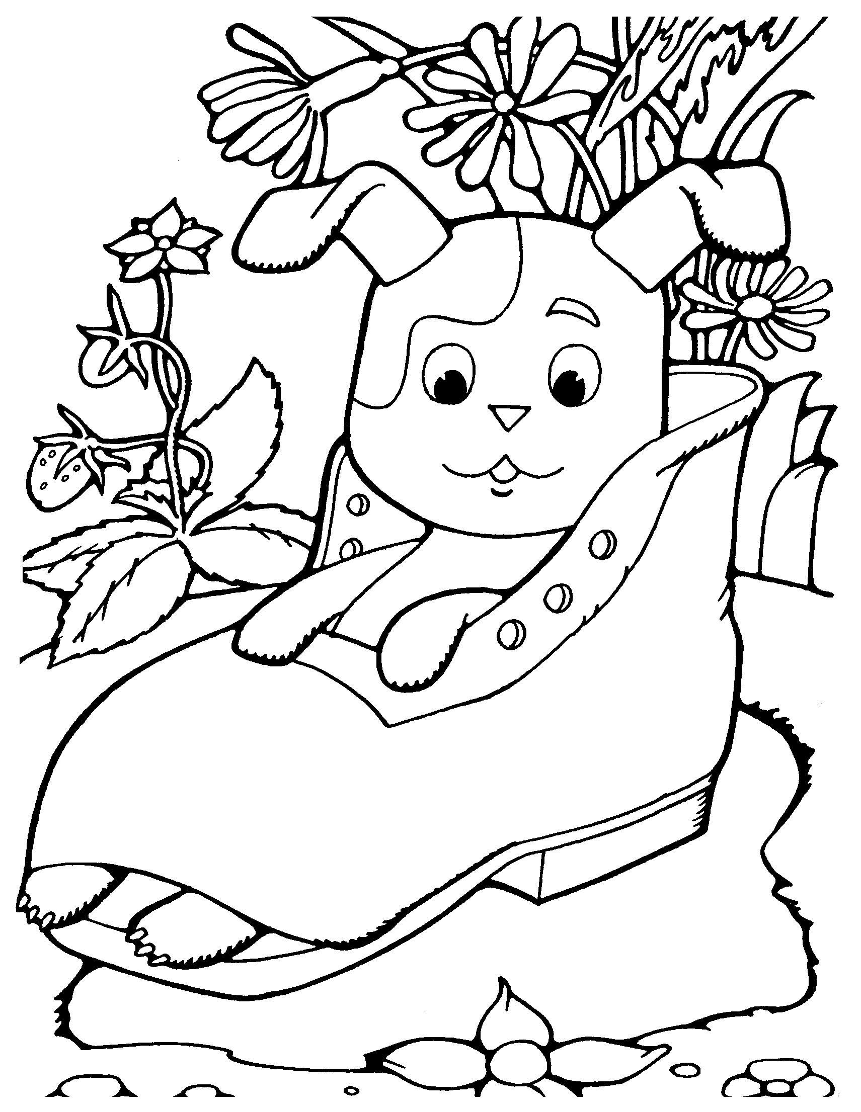 Щенок в ботинки из мультфильма котенок по имени гав Красивые раскраски цветов