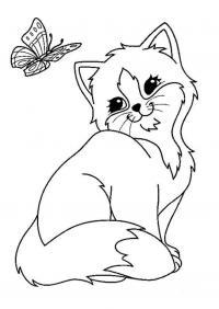 Котенок с бабочкой Для детей онлайн раскраски с цветами