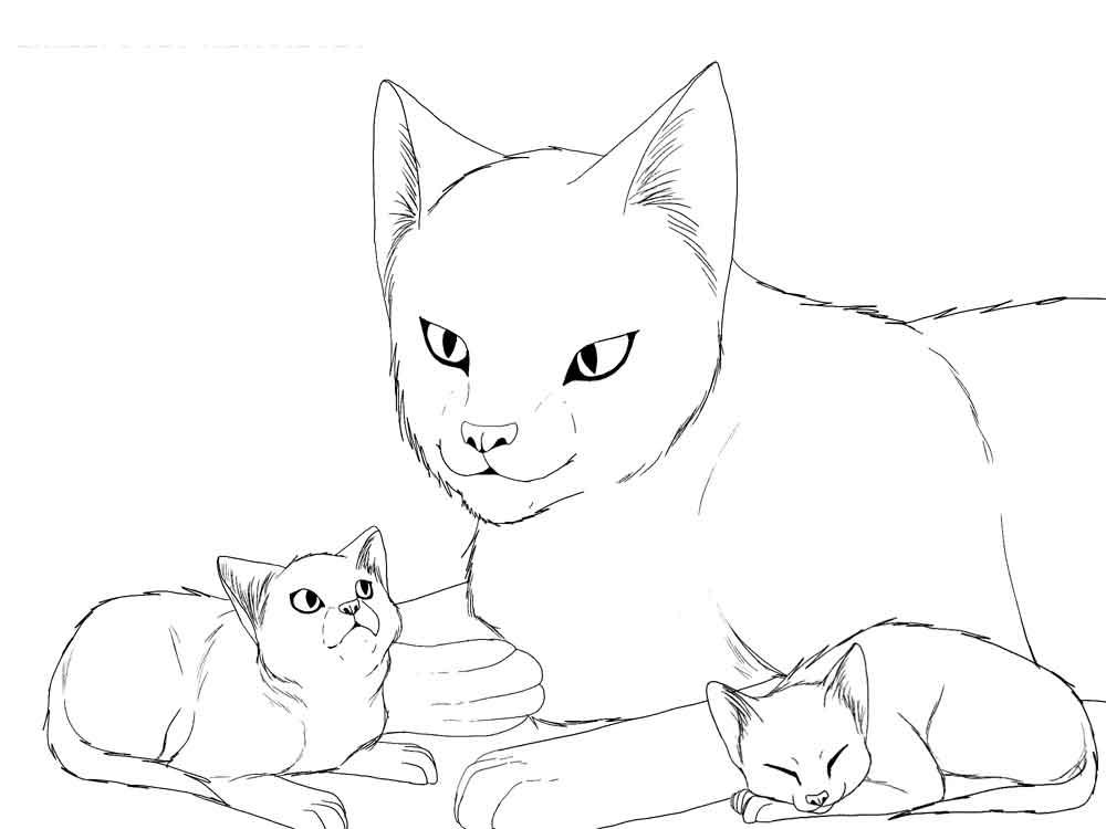 Кошка и два котенка Для детей онлайн раскраски с цветами