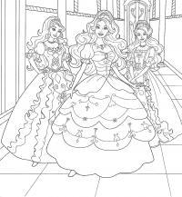 Барби принцессы Раскраски цветочки  для девочек