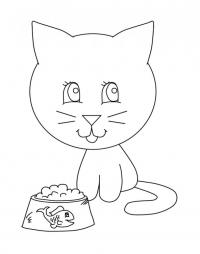 Котенок и миска с рыбкой Раскраски цветы для девочек