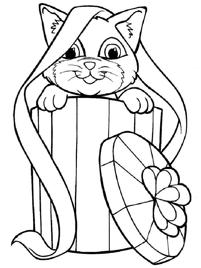 Котенок в коробке с бантом Для детей онлайн раскраски с цветами