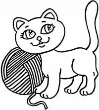 Котенок с хвостом трубой Для детей онлайн раскраски с цветами