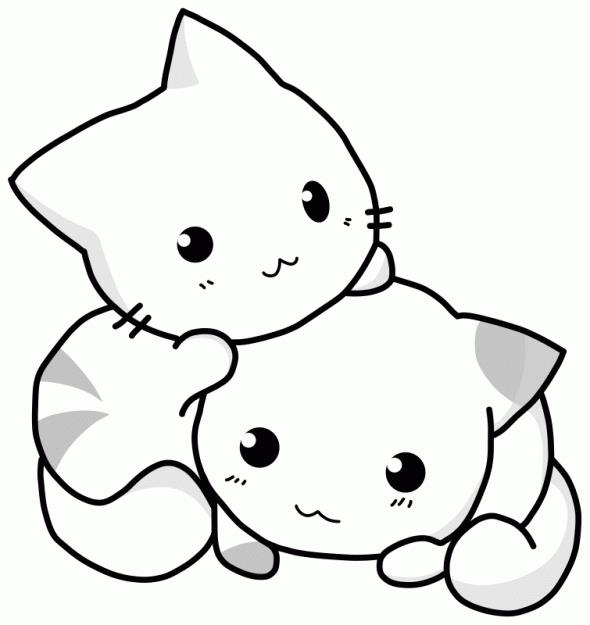 Маленькие котята Раскраска цветок для скачивания