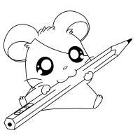 Милый мышонок с большими глазами, с карандашом Раскраски с чудесными цветами