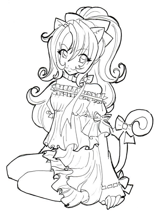 Неко, девочка с кошачьими ушками и хвостом в коротком платье Раскраски цветов бесплатно