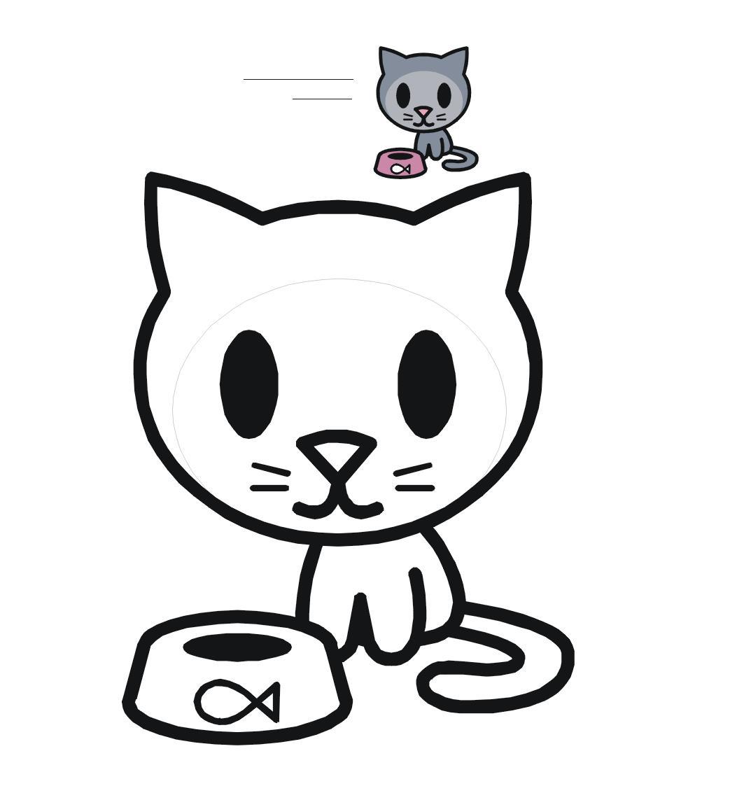 Котенок с миской раскрась по образцу Раскраски цветы для ...
