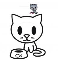 Котенок с миской Раскраски с цветами распечатать бесплатно