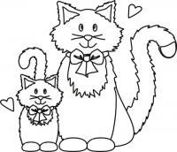 Кошачья любовь Для детей онлайн раскраски с цветами