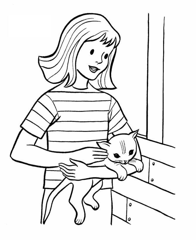 Девушка с кошкой Для детей онлайн раскраски с цветами